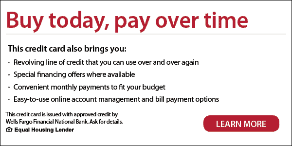 Wells Fargo credit card advertisement, promoted by our HVAC company