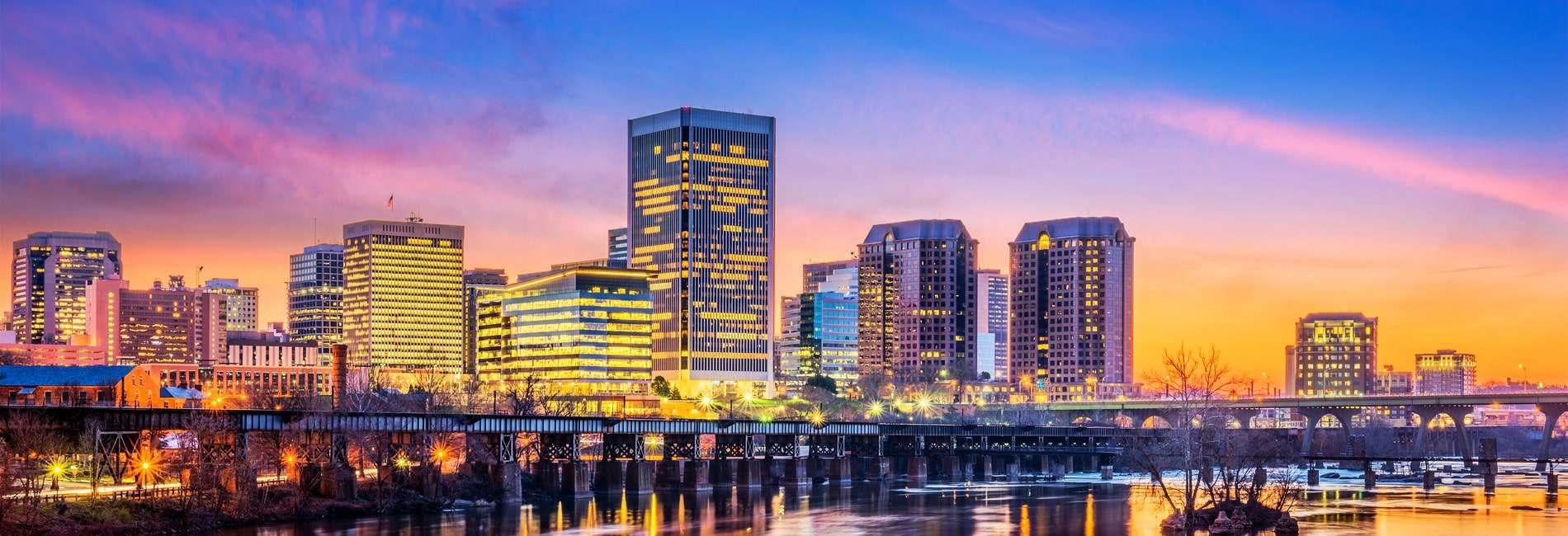Richmond, Virginia skyline at dusk, the area Shogun professionals service