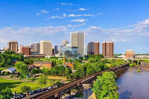 Richmond, Virginia skyline during daytime. This is the area residential electrician, plumber and HVAC contractor Shogun Services is located